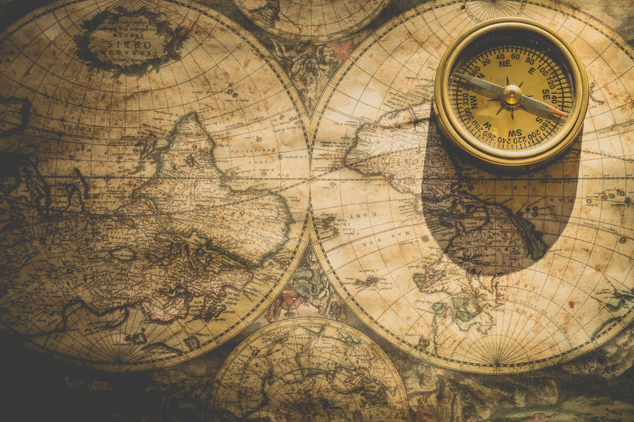 ancient map and compass