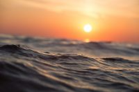 ocean water closeup at sunset